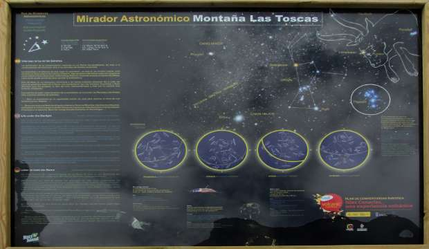 Astronomical information panel at the Las Tosca viewpoint, Mazo, La Palma island