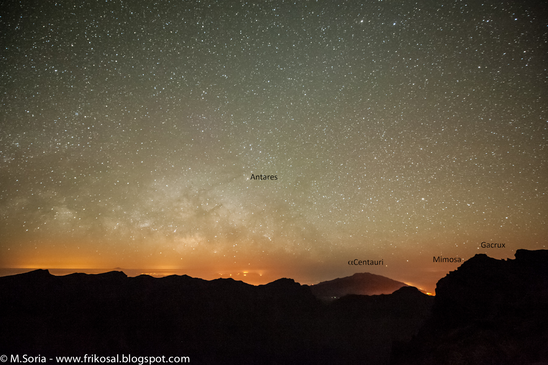 Stars over Los Llanos from the Roque